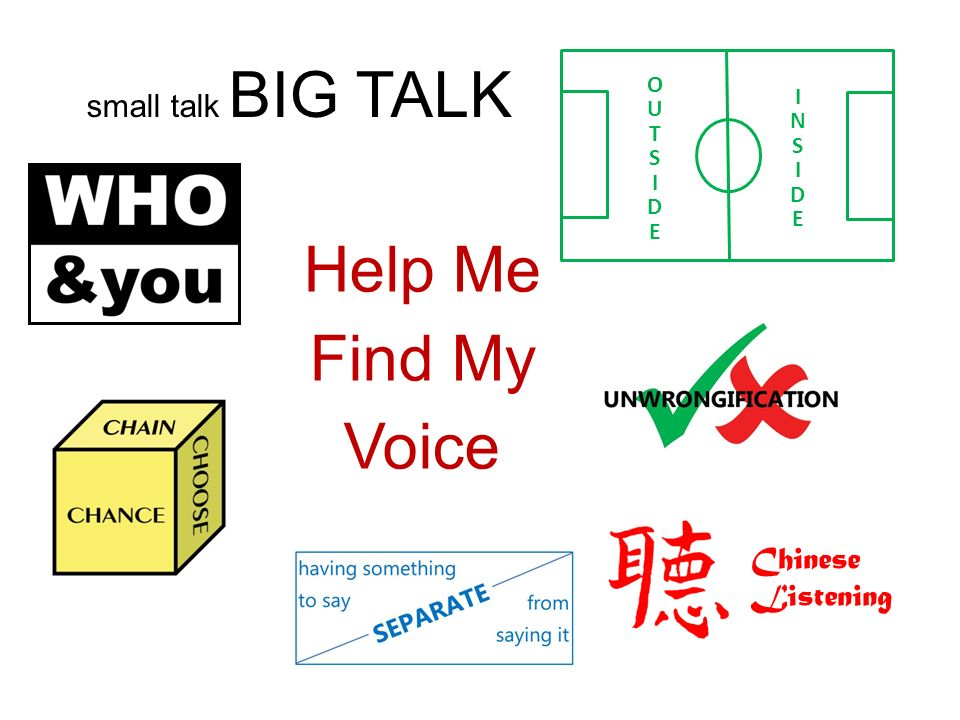 small talk BIG TALK Chinese Listening Help Me Find My Voice OUTSIDE OUTSIDE INSIDE INSIDE