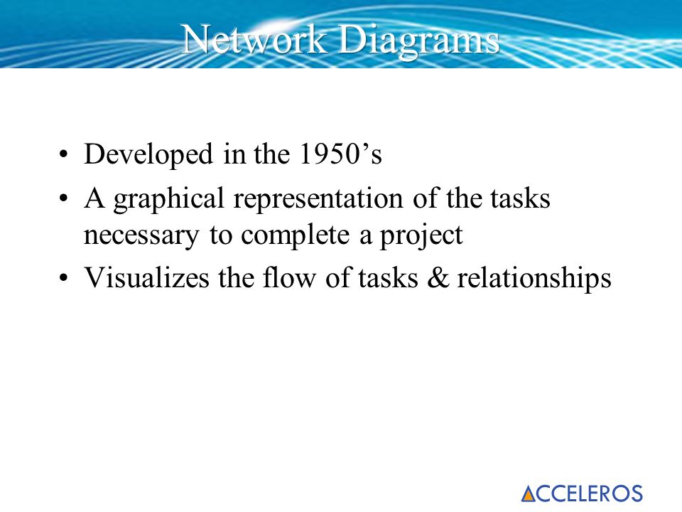 Developed in the 1950s A graphical representation of the tasks necessary to complete a project Visualizes the flow of tasks & relationships