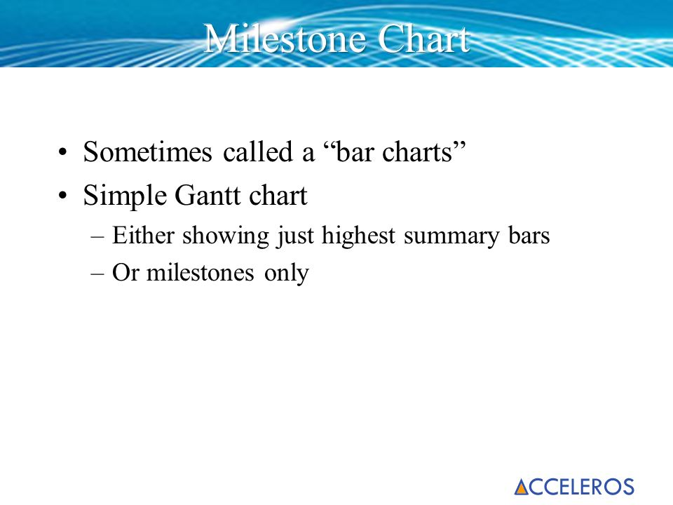 Sometimes called a bar charts Simple Gantt chart –Either showing just highest summary bars –Or milestones only