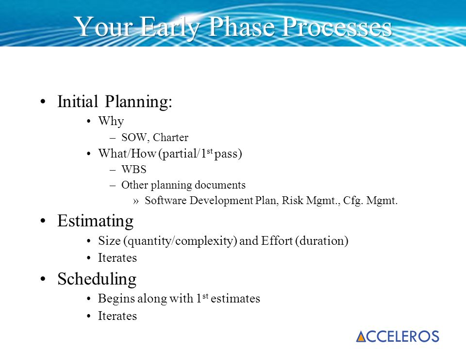 Initial Planning: Why –SOW, Charter What/How (partial/1 st pass) –WBS –Other planning documents »Software Development Plan, Risk Mgmt., Cfg. Mgmt. Est
