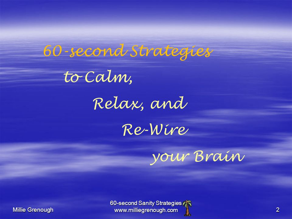 Millie Grenough 60-second Sanity Strategies www.milliegrenough.com2 60-second Strategies to Calm, Relax, and Re-Wire your Brain
