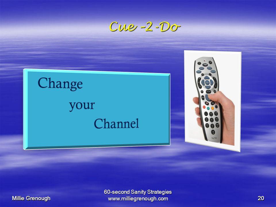 Millie Grenough 60-second Sanity Strategies www.milliegrenough.com20 Millie Grenough 20 Cue –2-Do