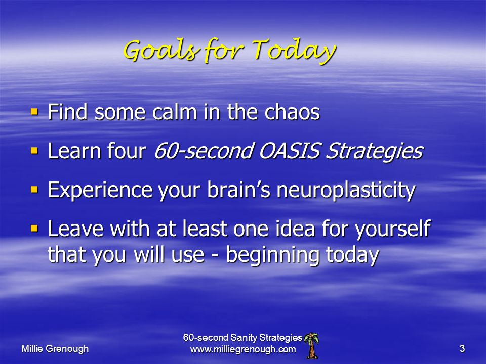 Millie Grenough 60-second Sanity Strategies www.milliegrenough.com3 Goals for Today Find some calm in the chaos Find some calm in the chaos Learn four 60-second OASIS Strategies Learn four 60-second OASIS Strategies Experience your brains neuroplasticity Experience your brains neuroplasticity Leave with at least one idea for yourself that you will use - beginning today Leave with at least one idea for yourself that you will use - beginning today