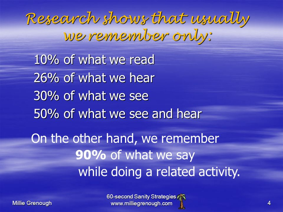 Millie Grenough 60-second Sanity Strategies   Research shows that usually we remember only: 10% of what we read 26% of what we hear 30% of what we see 50% of what we see and hear On the other hand, we remember 90% of what we say while doing a related activity.