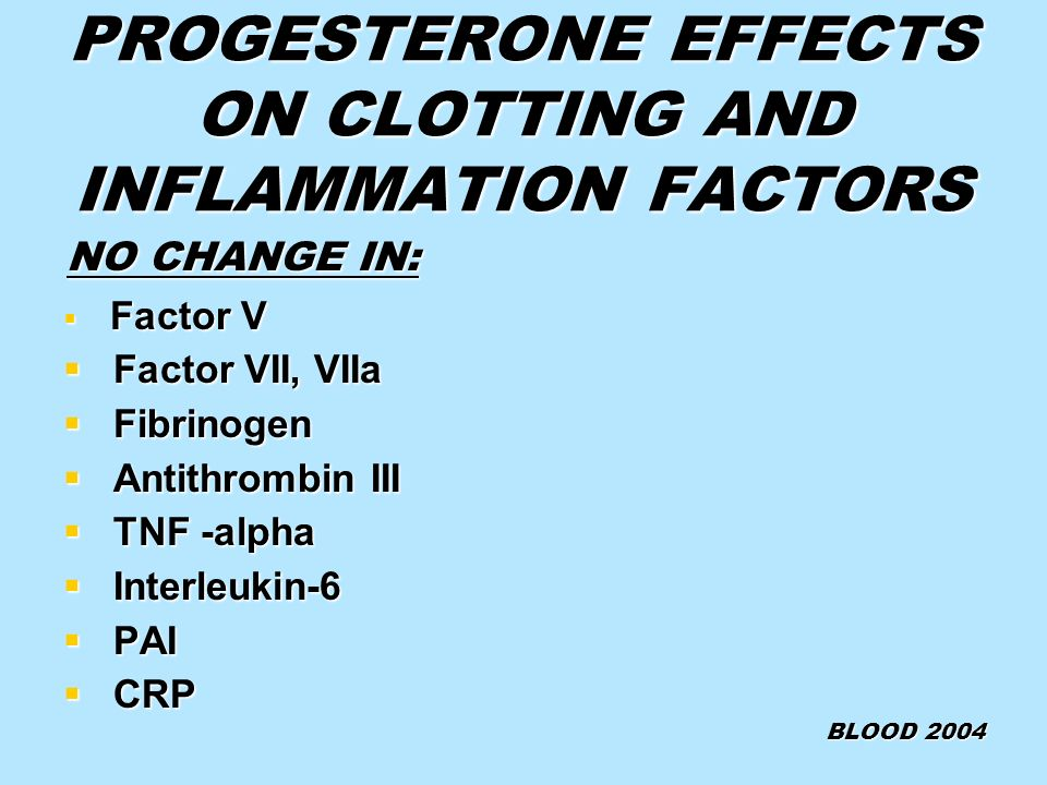 PROGESTERONE EFFECTS ON CLOTTING AND INFLAMMATION FACTORS NO CHANGE IN: NO CHANGE IN: Factor V Factor V Factor VII, VIIa Factor VII, VIIa Fibrinogen F