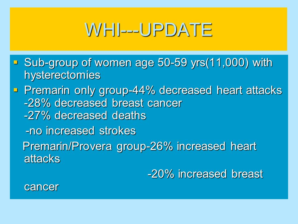 WHI---UPDATE Sub-group of women age 50-59 yrs(11,000) with hysterectomies Sub-group of women age 50-59 yrs(11,000) with hysterectomies Premarin only g
