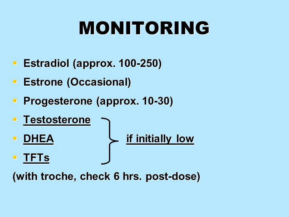 MONITORING Estradiol (approx. 100-250) Estradiol (approx. 100-250) Estrone (Occasional) Estrone (Occasional) Progesterone (approx. 10-30) Progesterone