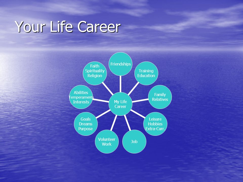 Your Life Career My Life Career Friendships Training Education Family Relatives Leisure Hobbies Extra-Curr.