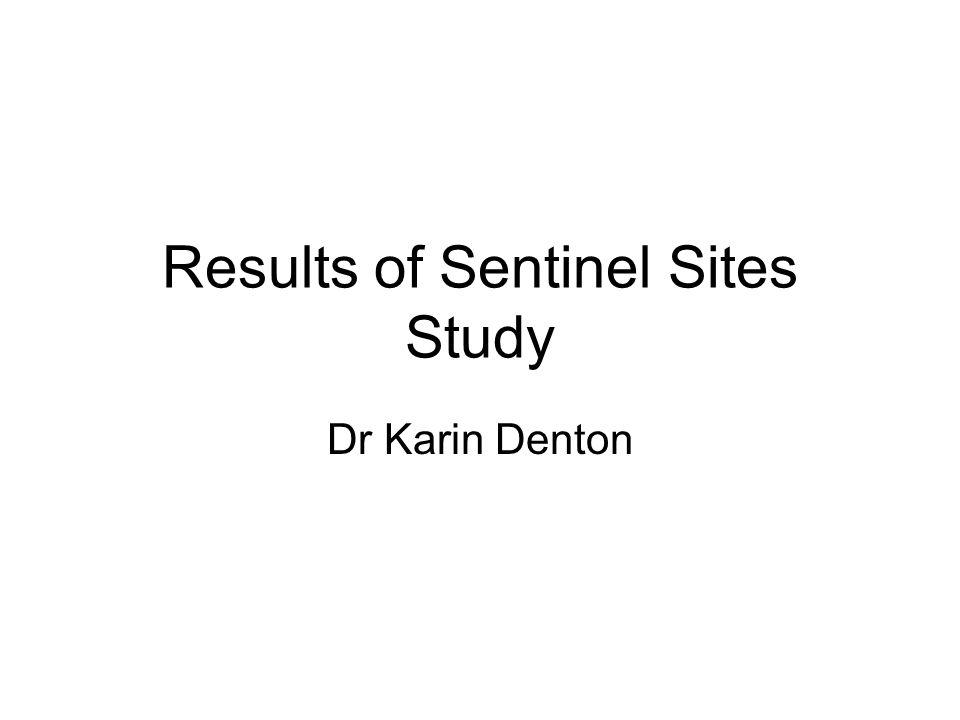 Results of Sentinel Sites Study Dr Karin Denton