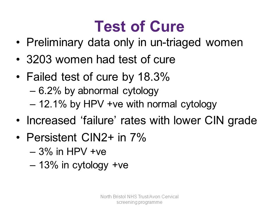 Test of Cure Preliminary data only in un-triaged women 3203 women had test of cure Failed test of cure by 18.3% –6.2% by abnormal cytology –12.1% by H