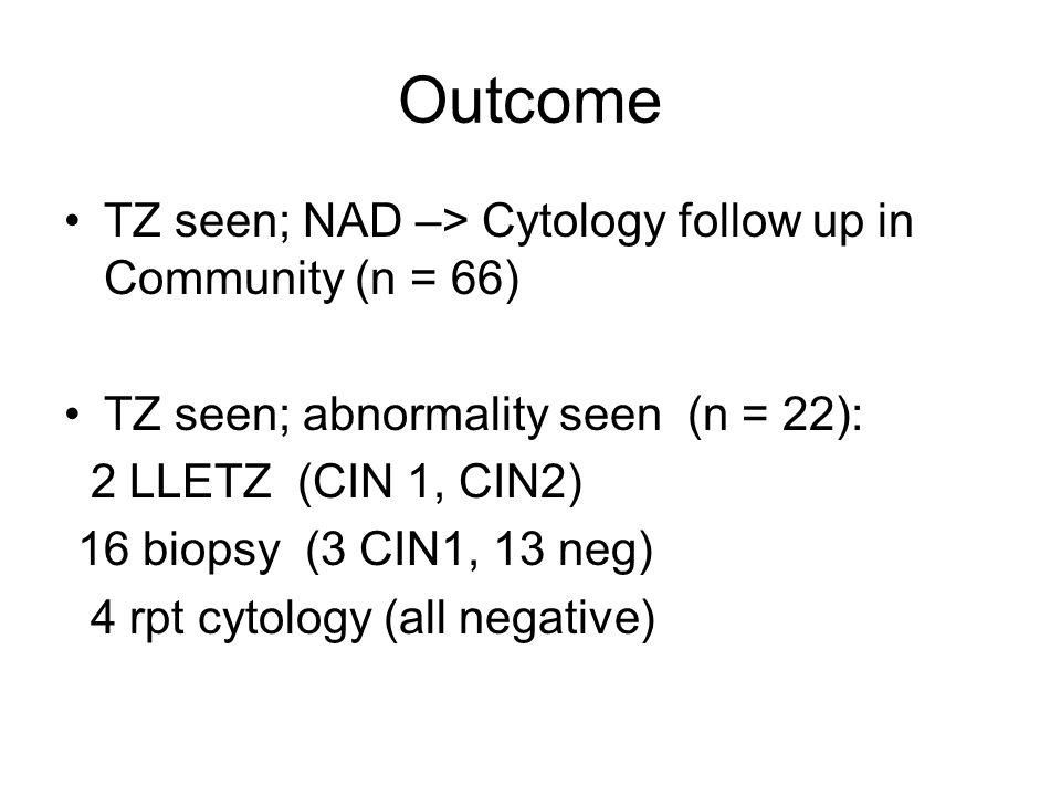 Outcome TZ seen; NAD –> Cytology follow up in Community (n = 66) TZ seen; abnormality seen (n = 22): 2 LLETZ (CIN 1, CIN2) 16 biopsy (3 CIN1, 13 neg)