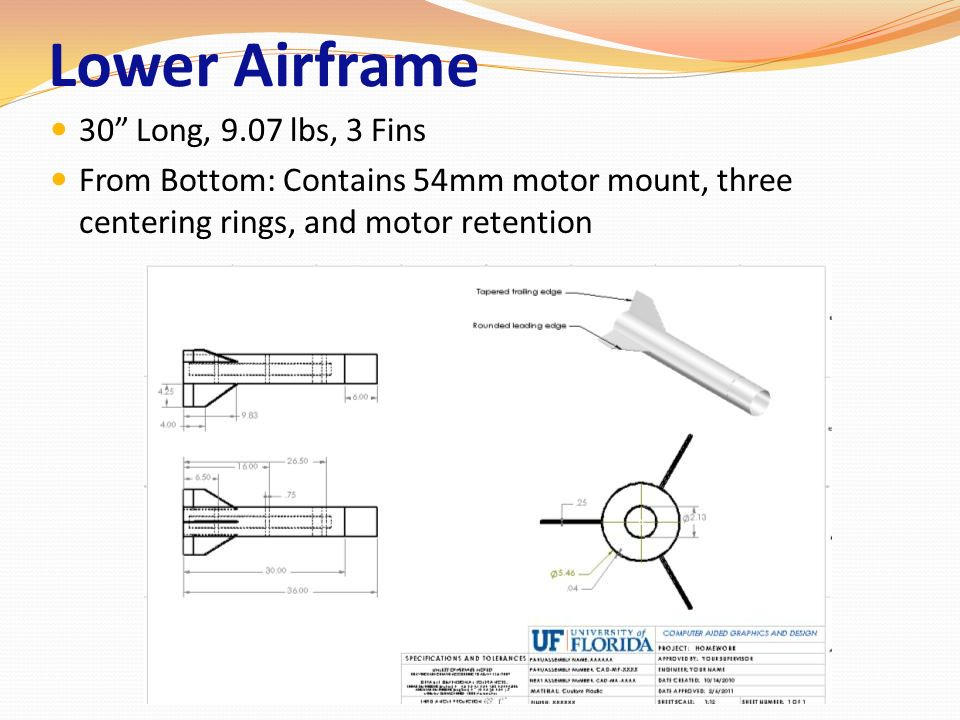 Lower Airframe 30 Long, 9.07 lbs, 3 Fins From Bottom: Contains 54mm motor mount, three centering rings, and motor retention