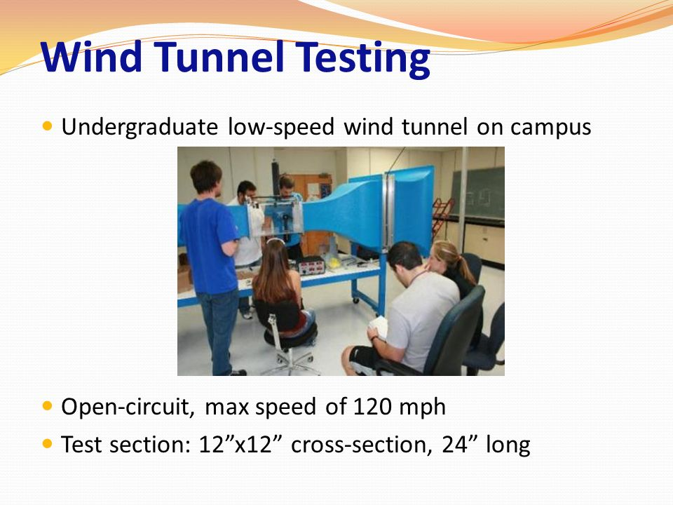 Wind Tunnel Testing Undergraduate low-speed wind tunnel on campus Open-circuit, max speed of 120 mph Test section: 12x12 cross-section, 24 long