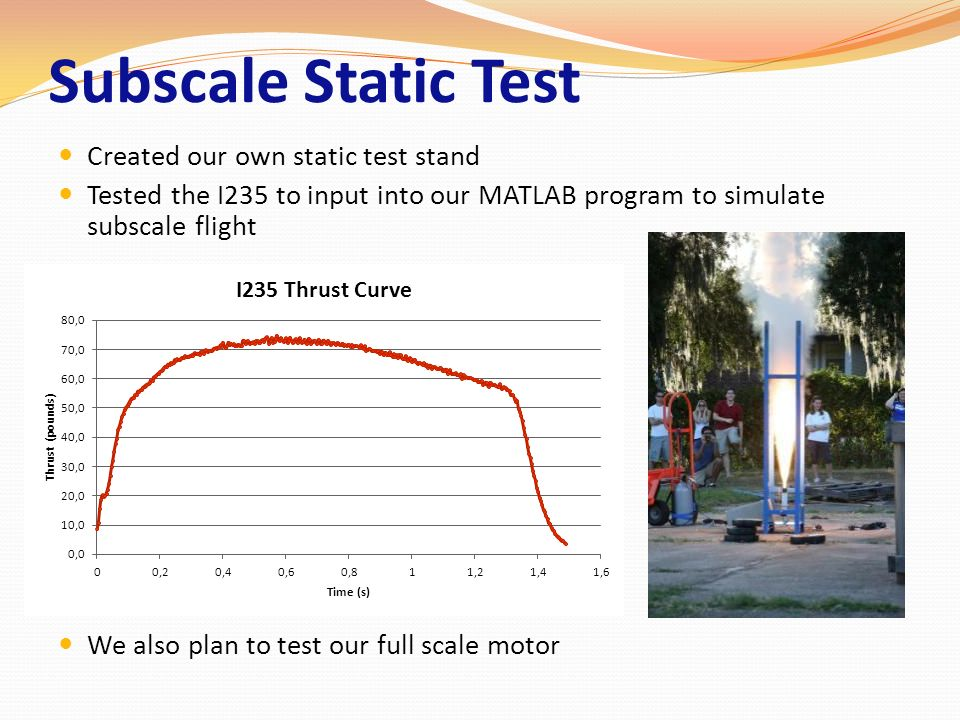 Subscale Static Test Created our own static test stand Tested the I235 to input into our MATLAB program to simulate subscale flight We also plan to te