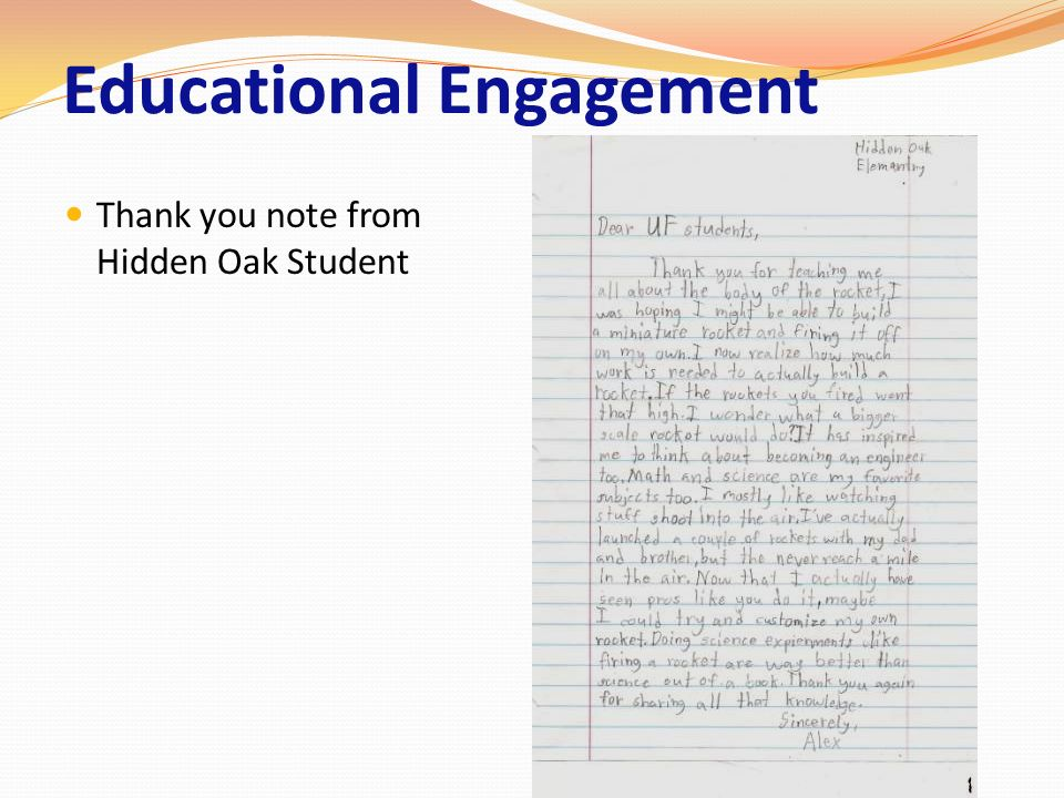 Educational Engagement Thank you note from Hidden Oak Student