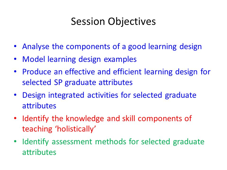 Session Objectives Analyse the components of a good learning design Model learning design examples Produce an effective and efficient learning design