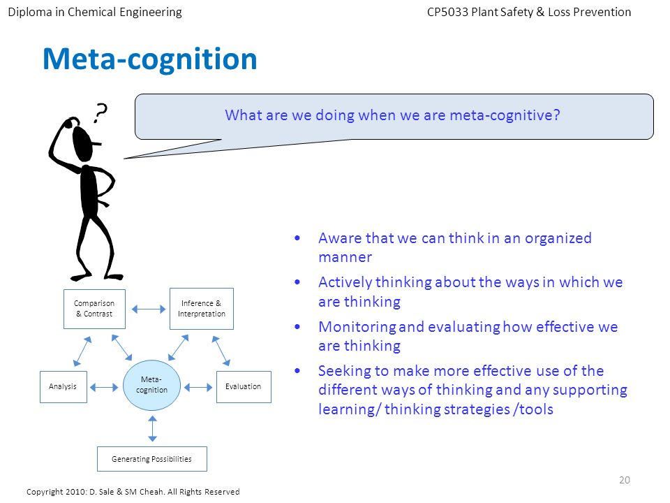 Meta-cognition What are we doing when we are meta-cognitive? Aware that we can think in an organized manner Actively thinking about the ways in which