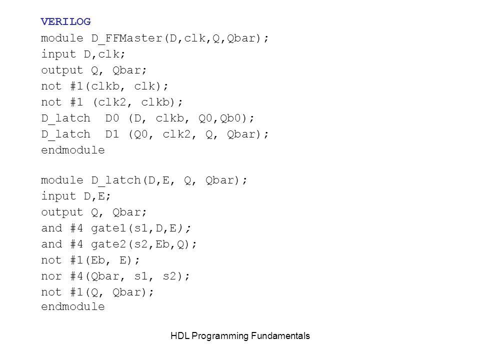 HDL Programming Fundamentals VERILOG module D_FFMaster(D,clk,Q,Qbar); input D,clk; output Q, Qbar; not #1(clkb, clk); not #1 (clk2, clkb); D_latch D0