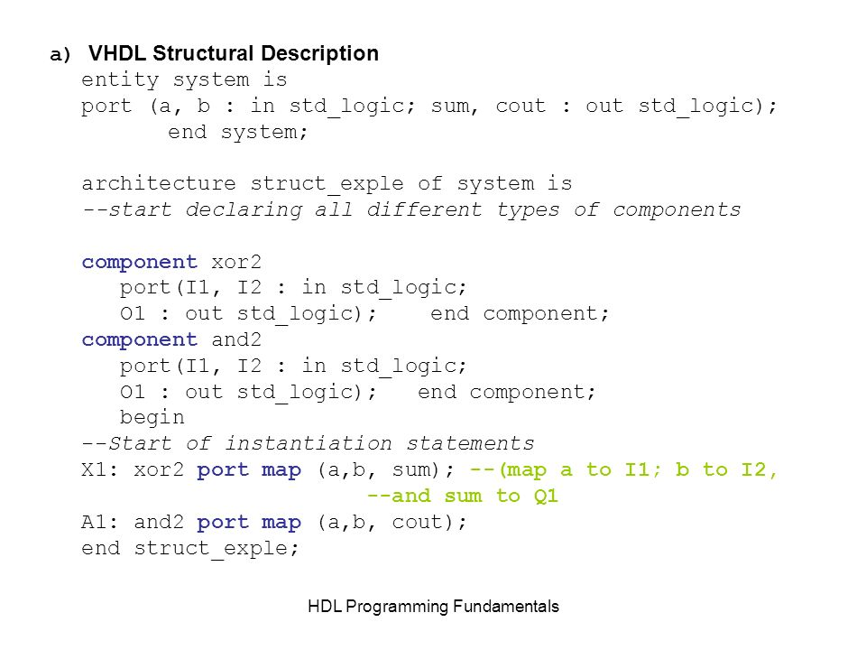 HDL Programming Fundamentals a) VHDL Structural Description entity system is port (a, b : in std_logic; sum, cout : out std_logic); end system; archit