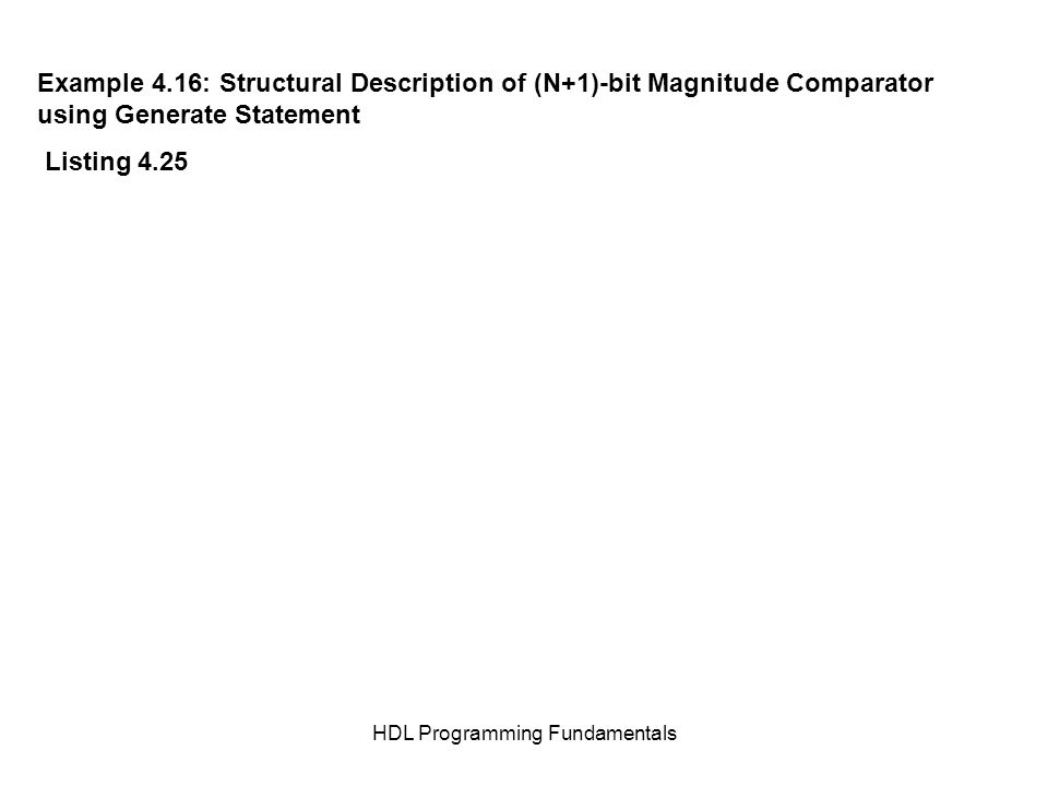 HDL Programming Fundamentals Example 4.16: Structural Description of (N+1)-bit Magnitude Comparator using Generate Statement Listing 4.25