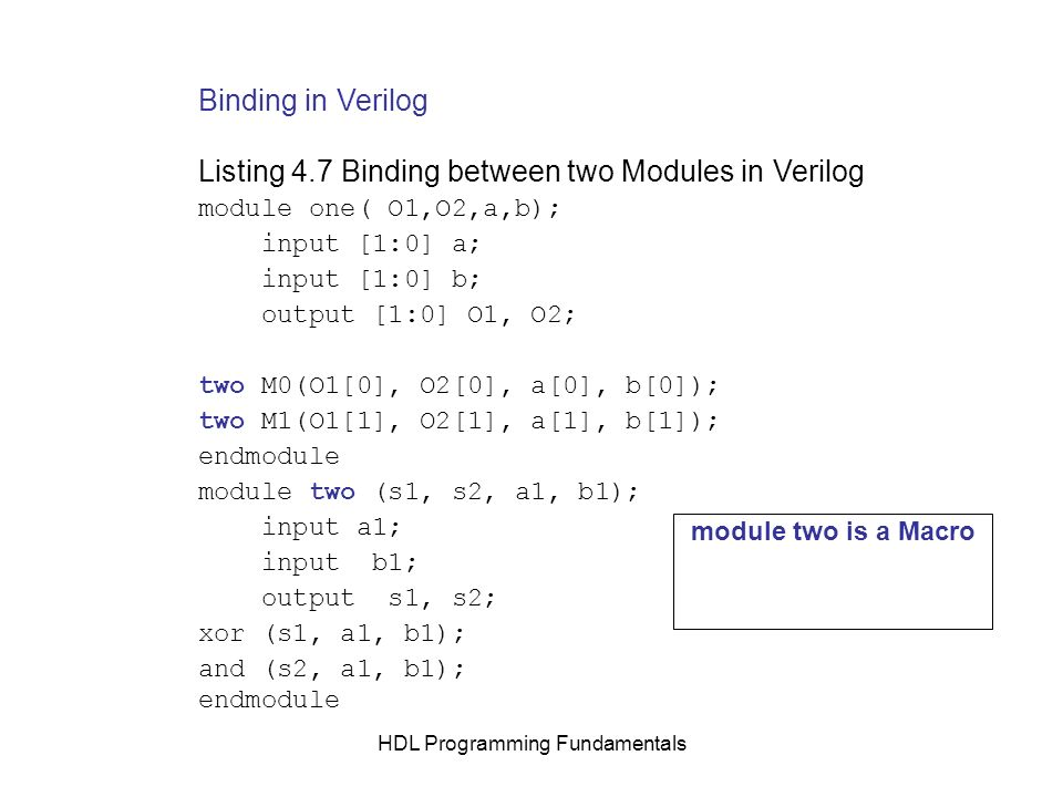 HDL Programming Fundamentals Binding in Verilog Listing 4.7 Binding between two Modules in Verilog module one( O1,O2,a,b); input [1:0] a; input [1:0]