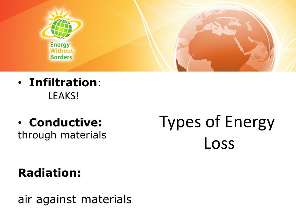 Types of Energy Loss Infiltration : LEAKS! Conductive: through materials Radiation: air against materials