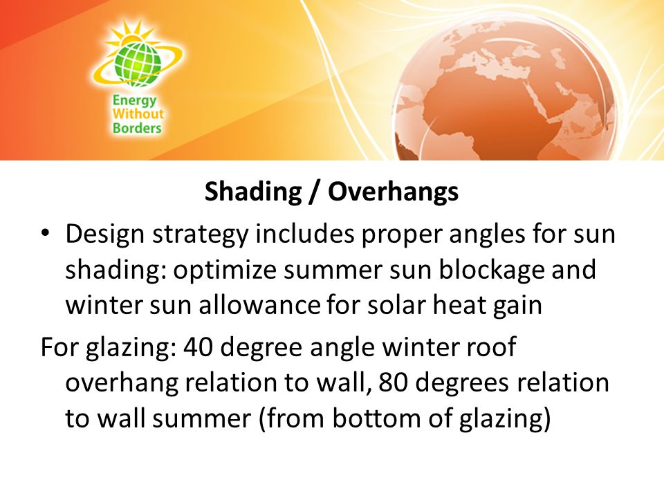 Shading / Overhangs Design strategy includes proper angles for sun shading: optimize summer sun blockage and winter sun allowance for solar heat gain