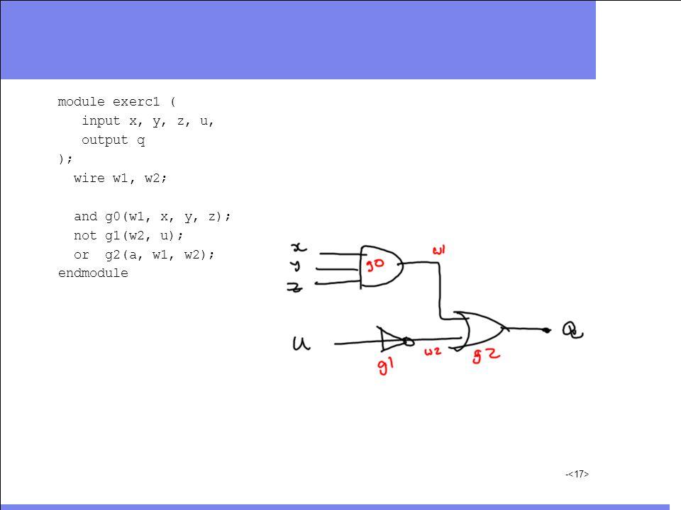 module exerc1 ( input x, y, z, u, output q ); wire w1, w2; and g0(w1, x, y, z); not g1(w2, u); or g2(a, w1, w2); endmodule -