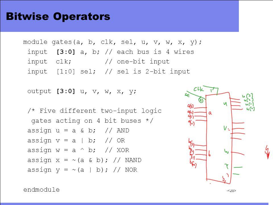 - Bitwise Operators module gates(a, b, clk, sel, u, v, w, x, y); input [3:0] a, b; // each bus is 4 wires input clk; // one-bit input input [1:0] sel;
