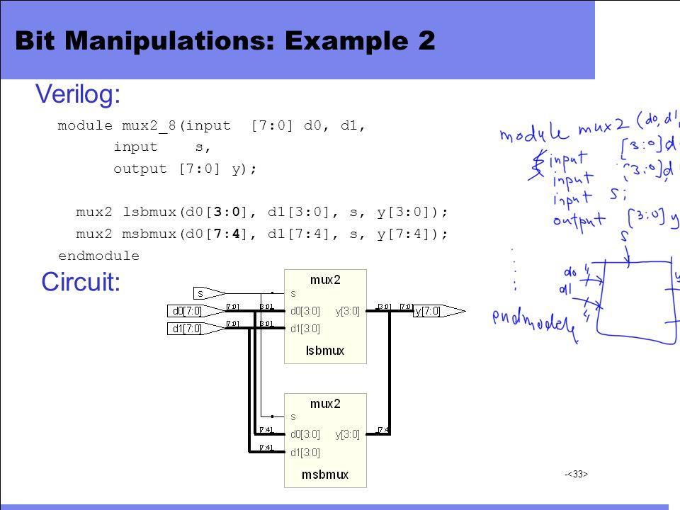 - Bit Manipulations: Example 2 module mux2_8(input [7:0] d0, d1, input s, output [7:0] y); mux2 lsbmux(d0[3:0], d1[3:0], s, y[3:0]); mux2 msbmux(d0[7: