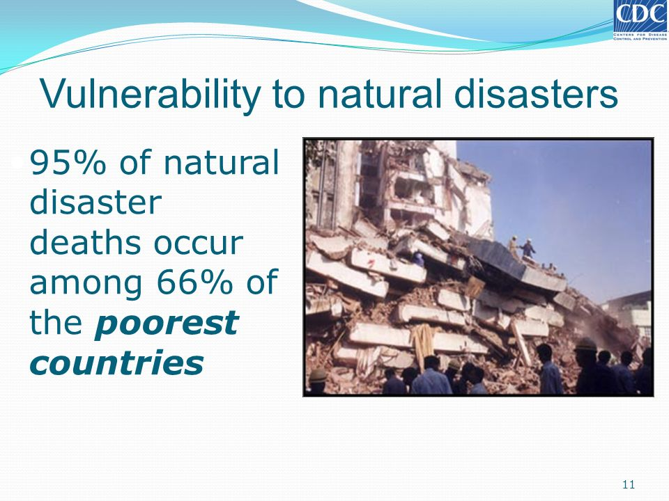 Vulnerability to natural disasters 95% of natural disaster deaths occur among 66% of the poorest countries 11