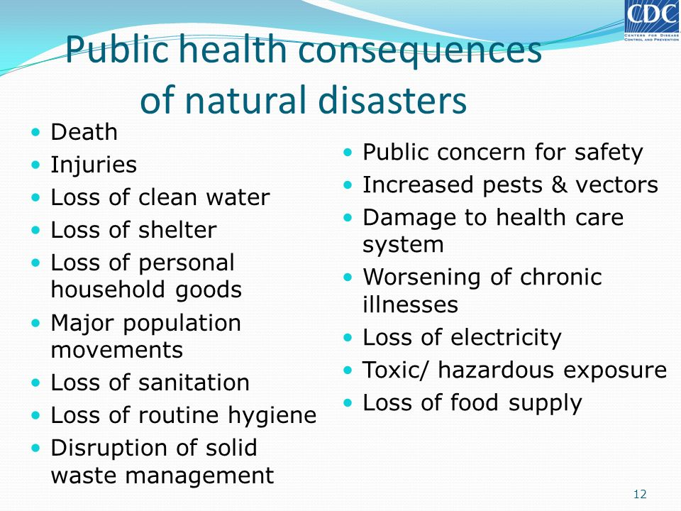 Public health consequences of natural disasters Death Injuries Loss of clean water Loss of shelter Loss of personal household goods Major population m
