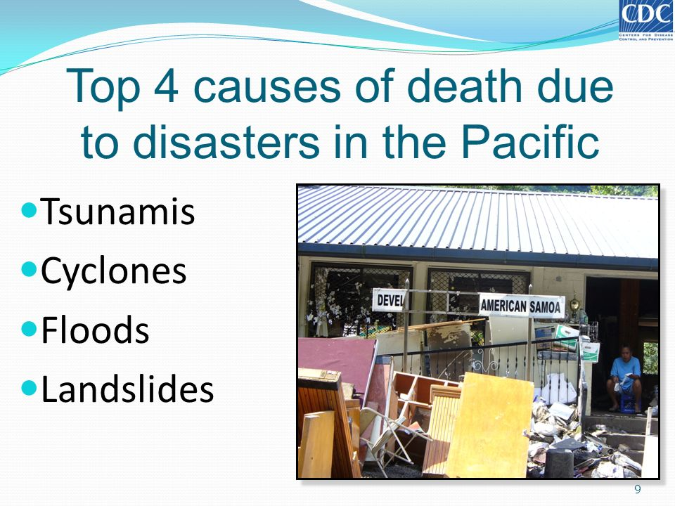 Top 4 causes of death due to disasters in the Pacific 9 Tsunamis Cyclones Floods Landslides