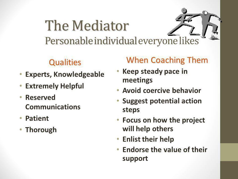The Mediator Personable individual The Mediator Personable individual everyone likes Qualities Experts, Knowledgeable Extremely Helpful Reserved Commu