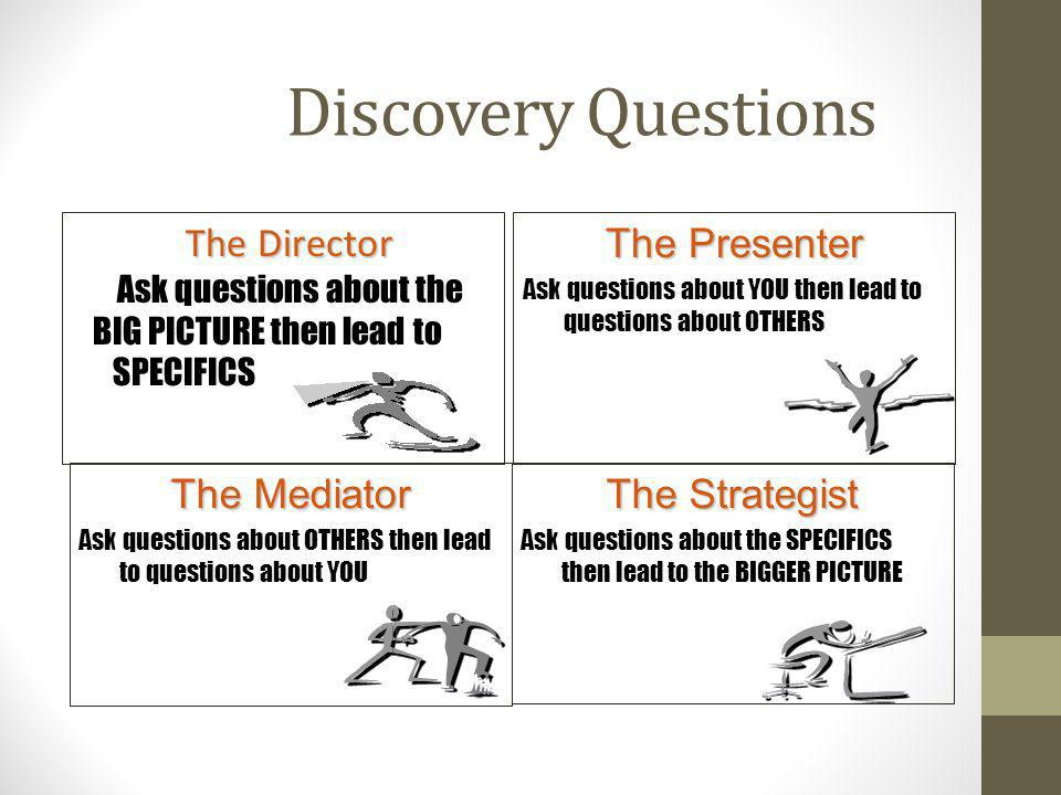 Discovery Questions The Director Ask questions about the BIG PICTURE then lead to SPECIFICS The Mediator Ask questions about OTHERS then lead to quest