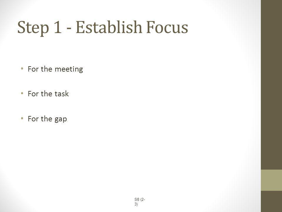 Step 1 - Establish Focus For the meeting For the task For the gap S8 (2- 3)