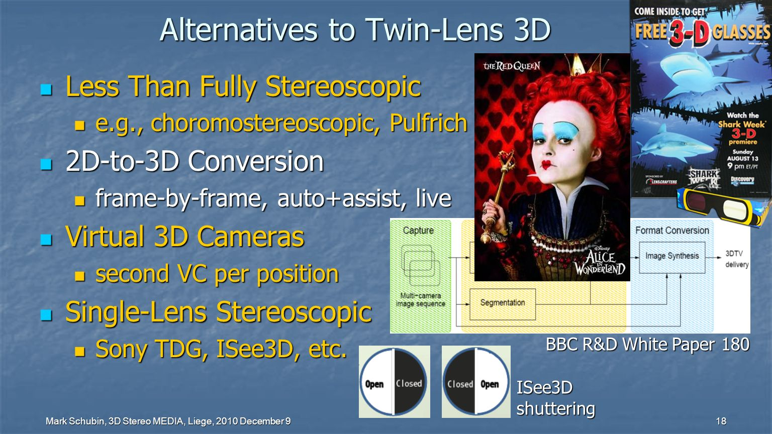 Mark Schubin, 3D Stereo MEDIA, Liege, 2010 December 9 17 The Elusive Grail Can there be a 3D system with no ghosting no ghosting no V-A conflict or shrinking no V-A conflict or shrinking 2D-viewer compatibility 2D-viewer compatibility no extra personnel no extra personnel one lens & camera/position one lens & camera/position one signal path/recording one signal path/recording full resolution full resolution inexpensive glasses inexpensive glasses for all TVs & distribution.