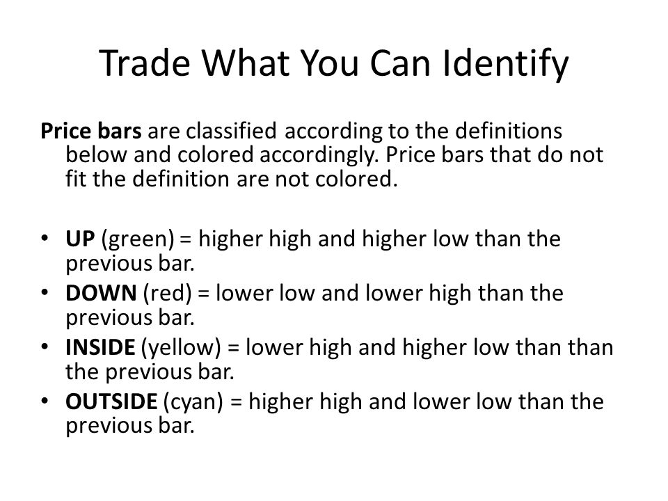 Trade What You Can Identify Price bars are classified according to the definitions below and colored accordingly. Price bars that do not fit the defin