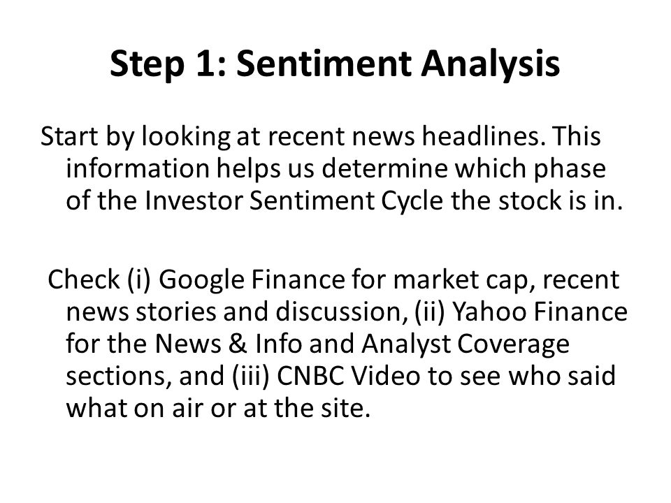 Step 1: Sentiment Analysis Start by looking at recent news headlines. This information helps us determine which phase of the Investor Sentiment Cycle