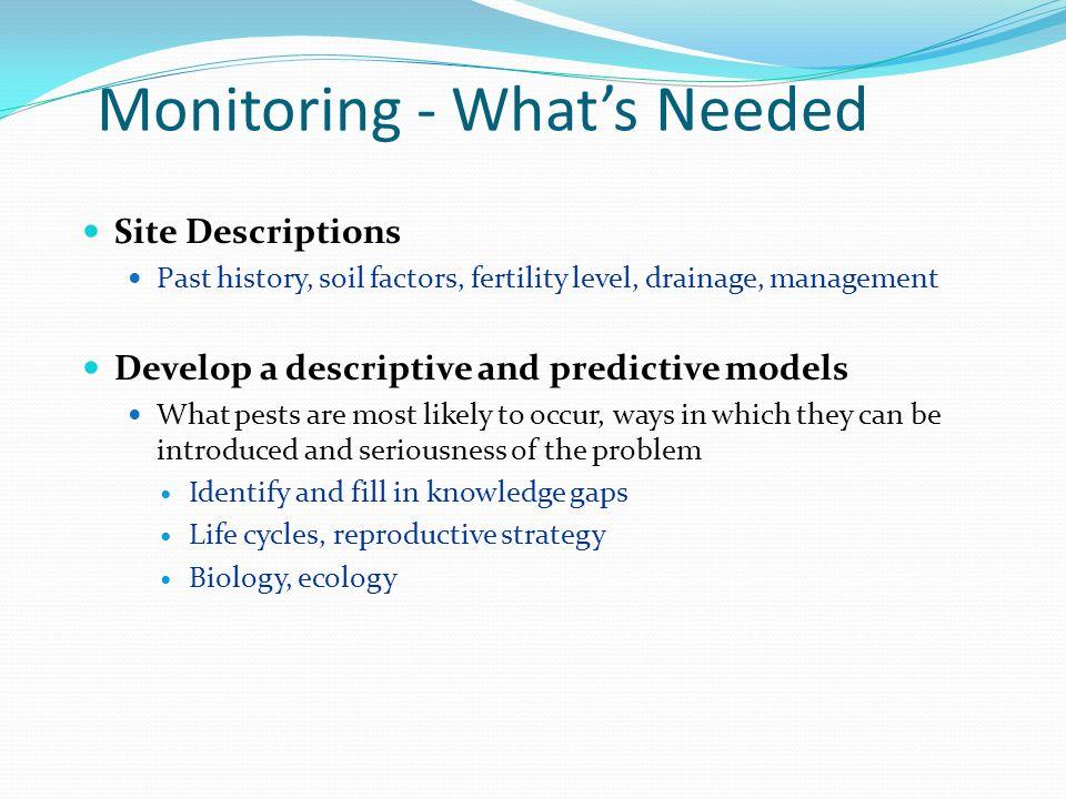Monitoring - Whats Needed Site Descriptions Past history, soil factors, fertility level, drainage, management Develop a descriptive and predictive mod