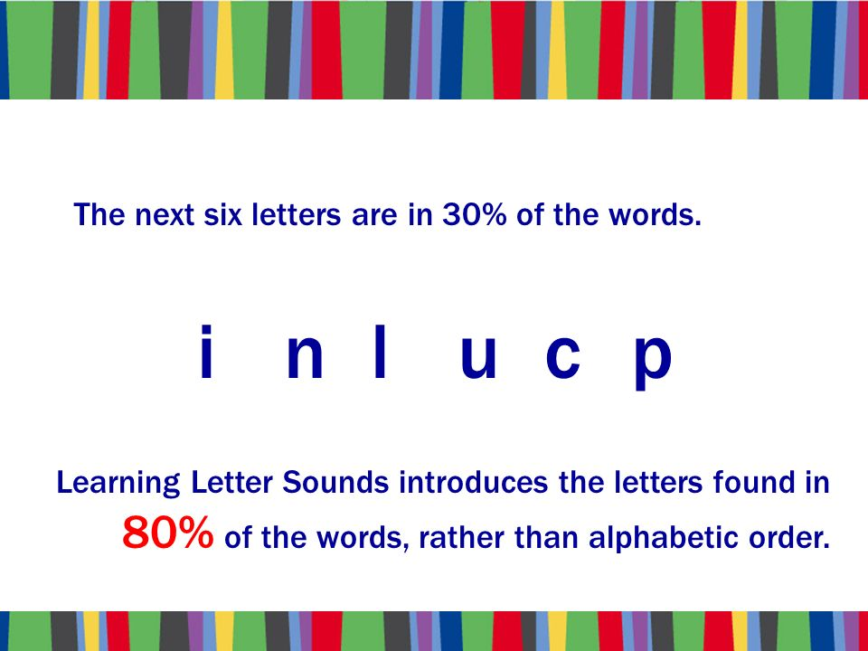 The next six letters are in 30% of the words.