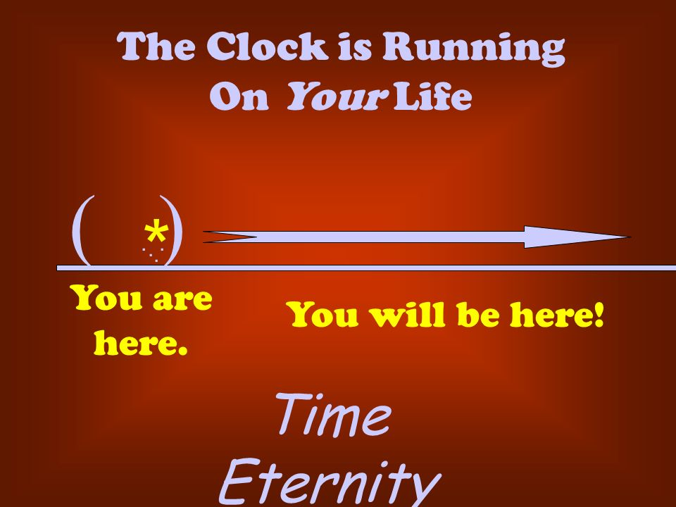 ( ). The Clock is Running On Your Life... * You are here. You will be here! Time Eternity