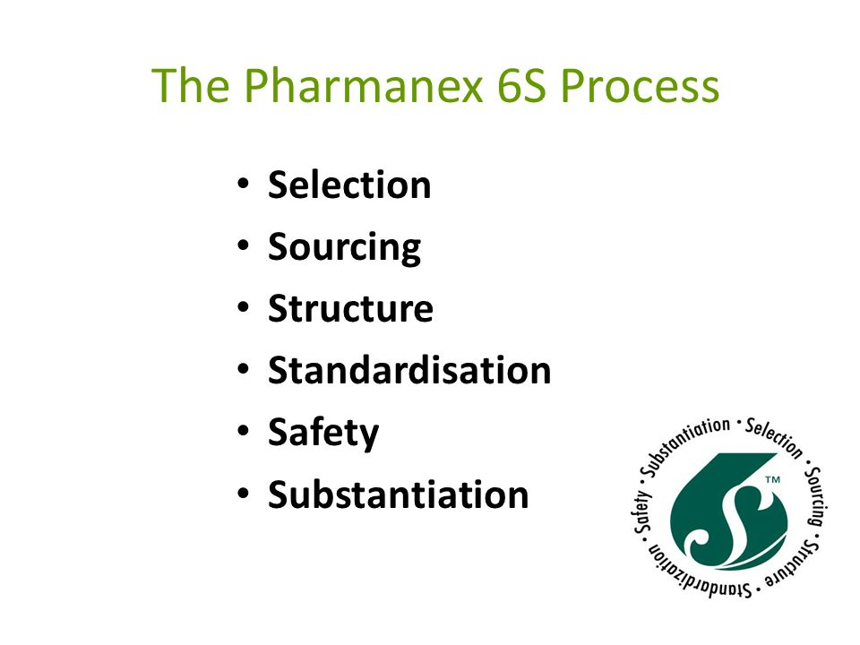 The Pharmanex 6S Process Selection To locate the botanicals with the most effective health-promoting properties, Pharmanex employs teams of experts from the United States and Asia.