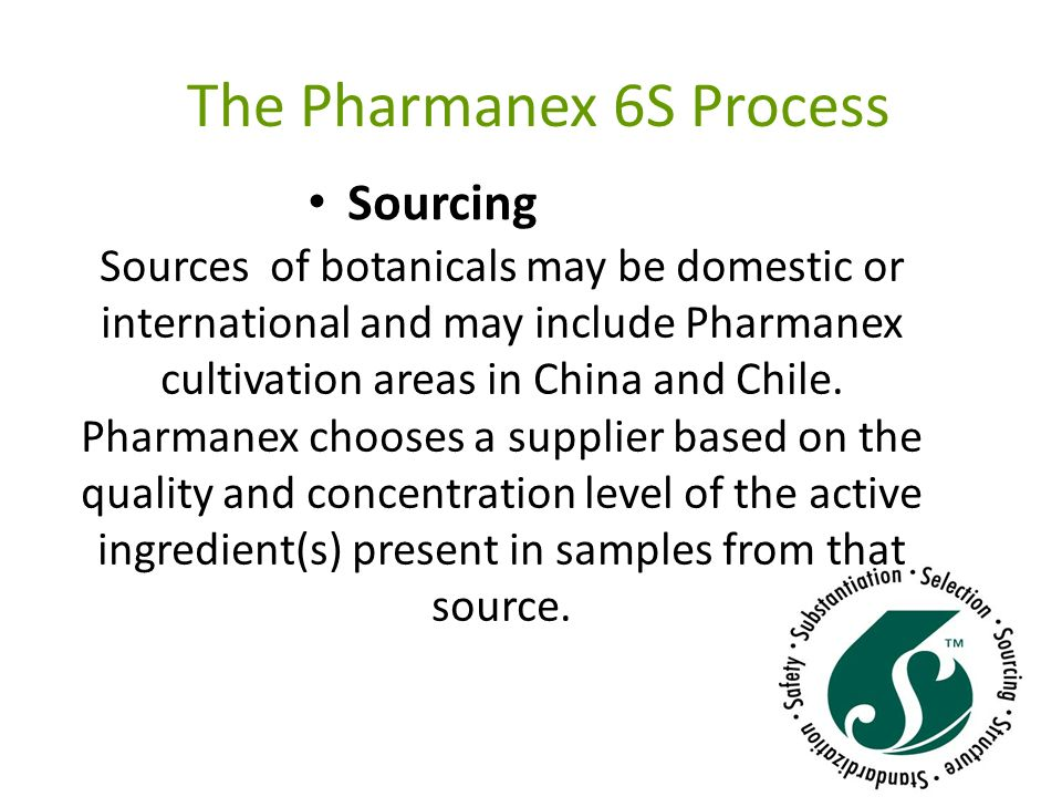 The Pharmanex 6S Process Structure Using state-of-the-art analytical techniques and working in collaboration with respected universities and laboratories in both China and the United States, Pharmanex conducts structural analyses of the natural compounds present in the selected botanical