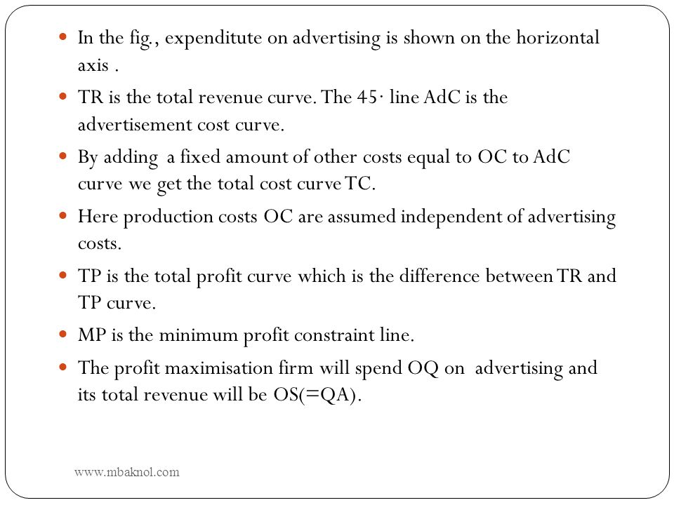 10 In the fig., expenditute on advertising is shown on the horizontal axis. TR is the total revenue curve. The 45 line AdC is the advertisement cost c