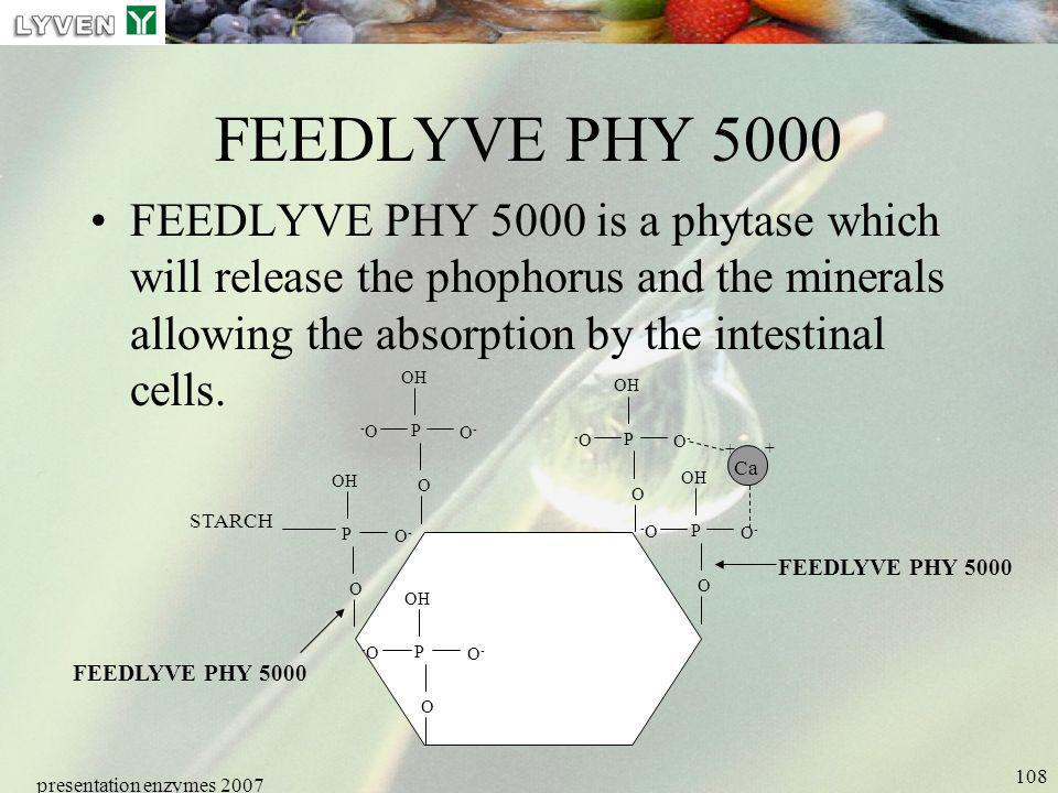 presentation enzymes 2007 108 FEEDLYVE PHY 5000 FEEDLYVE PHY 5000 is a phytase which will release the phophorus and the minerals allowing the absorpti