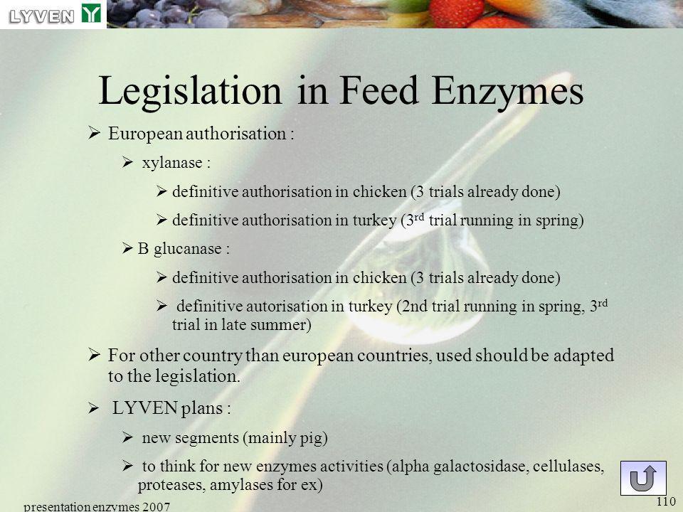 presentation enzymes 2007 110 Legislation in Feed Enzymes European authorisation : xylanase : definitive authorisation in chicken (3 trials already do