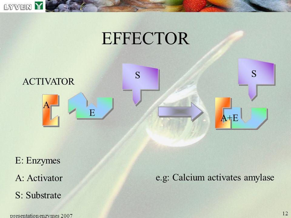 presentation enzymes 2007 12 EFFECTOR ACTIVATOR A E S S E: Enzymes A: Activator S: Substrate e.g: Calcium activates amylase A+E