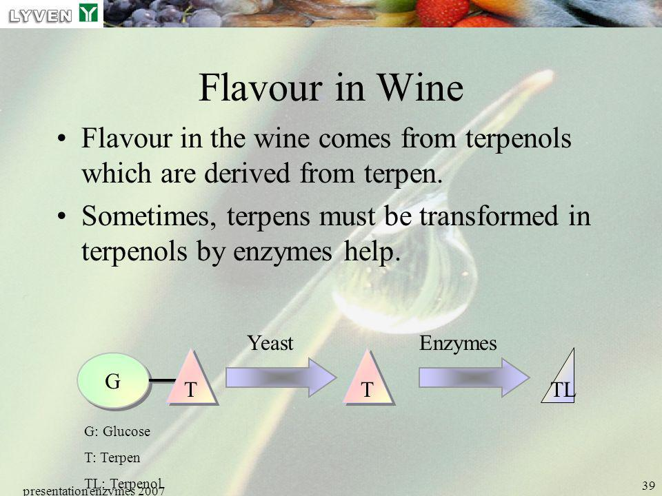 presentation enzymes 2007 39 Flavour in Wine Flavour in the wine comes from terpenols which are derived from terpen. Sometimes, terpens must be transf