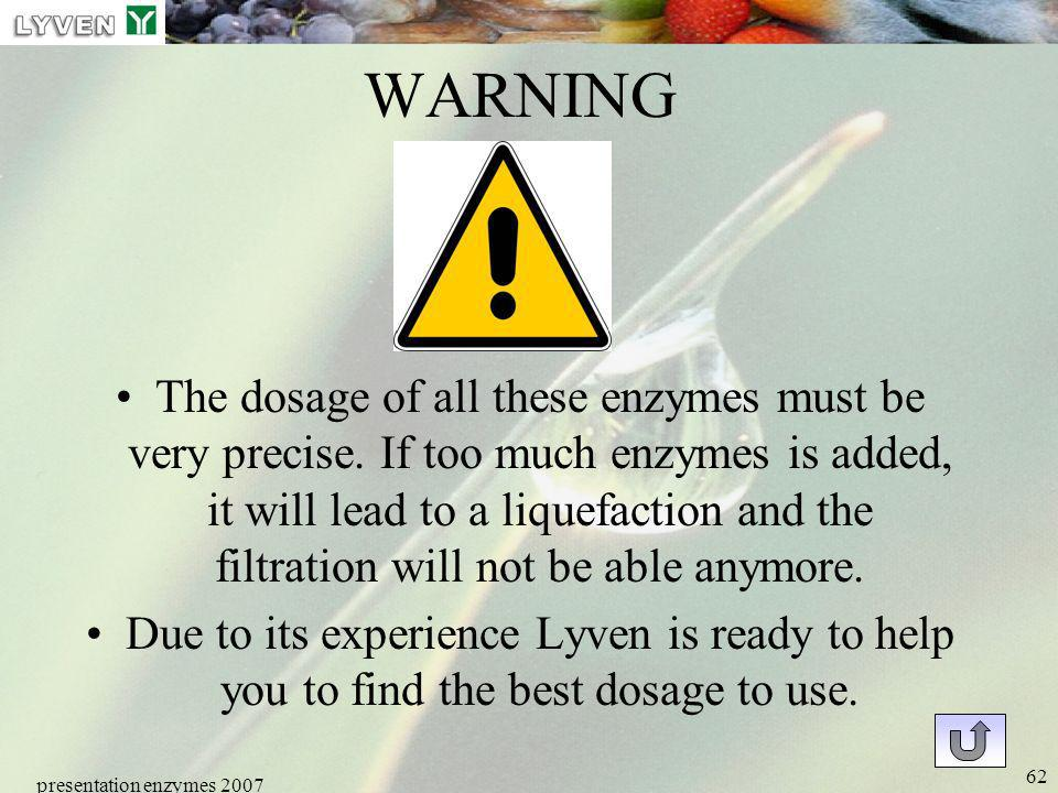 presentation enzymes 2007 62 WARNING The dosage of all these enzymes must be very precise. If too much enzymes is added, it will lead to a liquefactio